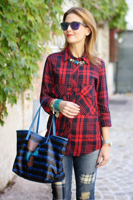 red plaid shirt, marc by marc jacobs tote bag, Fashion and Cookies, fashion blogger