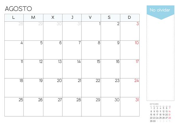 calendario agosto 2014 para imprimir