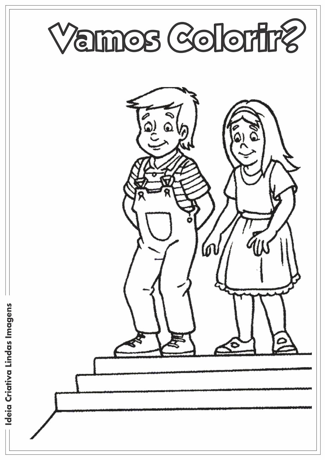 Dia de Monteiro Lobato - Sítio do Picapau Amarelo - Narizinho e Pedrinho desenho para colorir