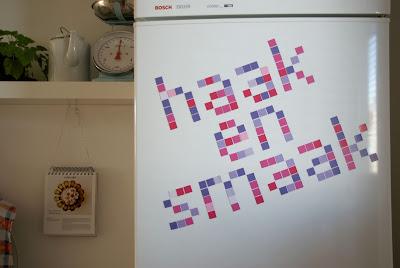 Pixel magnets on fridge Haak en Smaak DIY How to