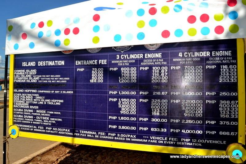 Honda Bay boat rental and entrance fees
