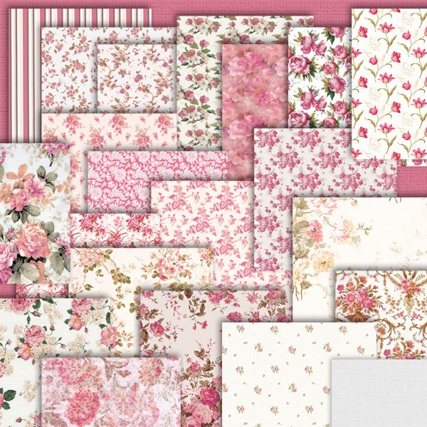 De bebê chá de panela etc são 20 papéis florais 1 listado e 1 rosa