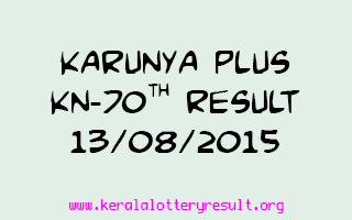 Karunya Plus KN 70 Lottery Result 13-8-2015