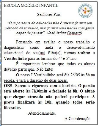 Bilhete Vestibulinho 2012