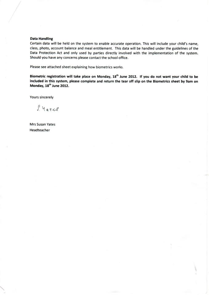 Biometrics in schools January 2013 – Parents Consent Letter for Work
