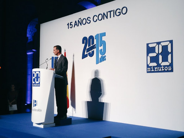 King Felipe of Spain and Queen Letizia of Spain attended the festive a event dedicated to the 15th Anniversary of the '20minutos' newspaper in Madrid