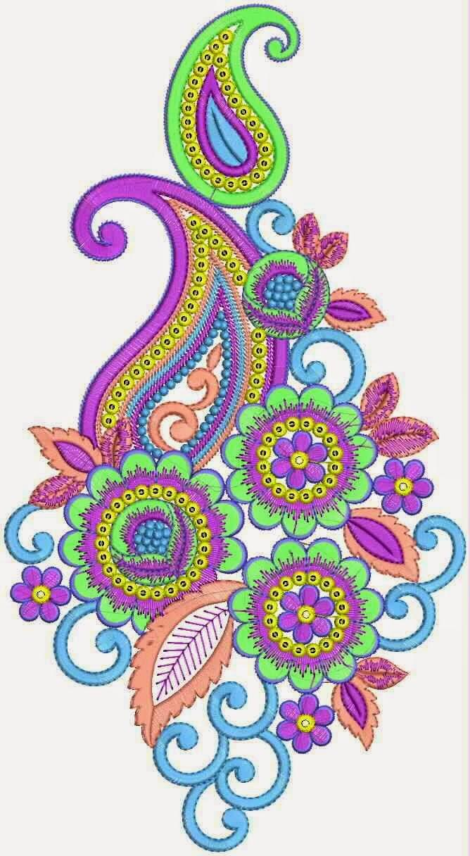 Moderne blom borduurwerk appliekwerk