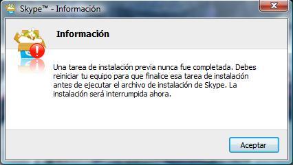 Error de instalación de Skype