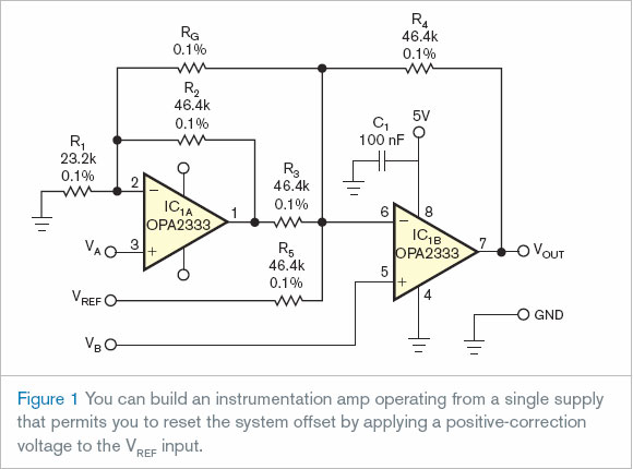 SingleSupply Instrumentation Amplifier Electronic Circuits Diagram