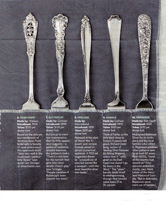 It talked about the ten most popular \ vintage\  sterling flatware patterns and gave their current values. The best-selling pattern? & My Sister\u0027s Cottage: What\u0027s Your Silver Pattern?