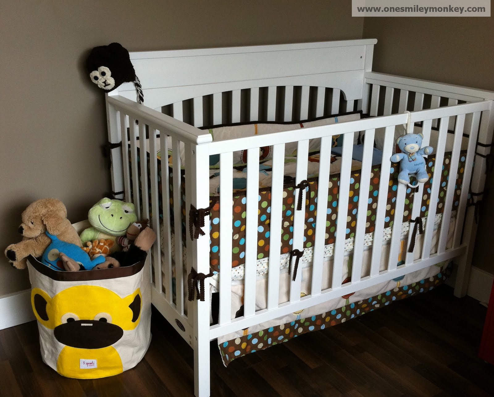 yellow monkey storage bin by  sprouts review closed giveaway - the  sprouts bin complements our nursery perfectly