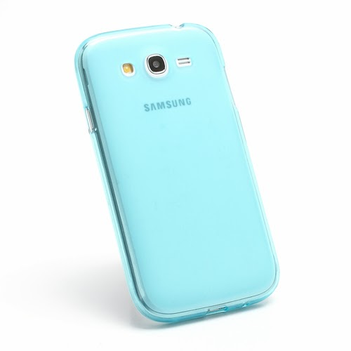 Frosted TPU Jelly Case for Samsung Galaxy Grand I9080 Grand Duos I9082 - Blue Transparent
