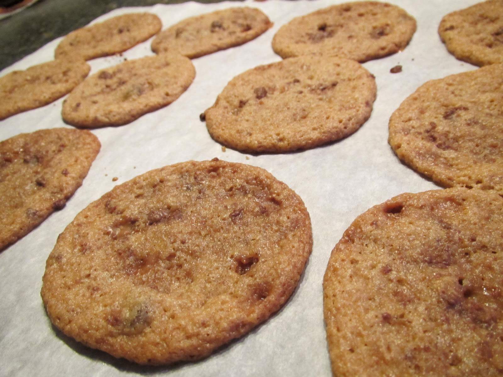 Cookies with a bit more milk and less flour, with heath bar bits on ...