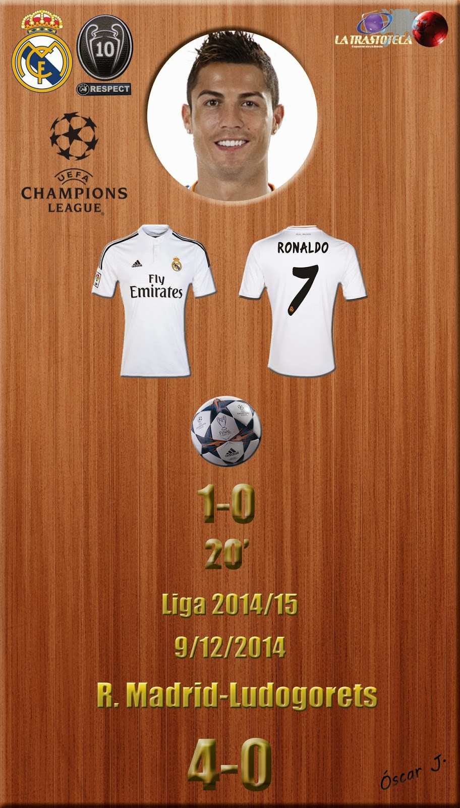 Cristiano Ronaldo - (1-0) - Real Madrid 4-0 Ludogorets - Champions League 2014/15 - Jornada 6 - (9/12/2014)
