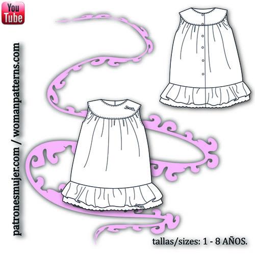Patrones para hacer un vestido en canesu para niñas
