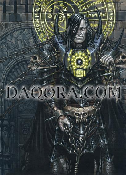 Ilustración de personaje hecha por ªRU-MOR para el juego de fantasía y Cartas de ÉPICA. Edades Oscuras. Representa a Rakakull, del clan Mordad, encadenado con mágia para no poder desatar sus poderes.