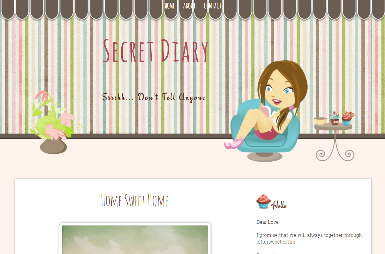Secret Diary Free Premium Cute Blogger Template | Ipietoon-Cute Blog ...