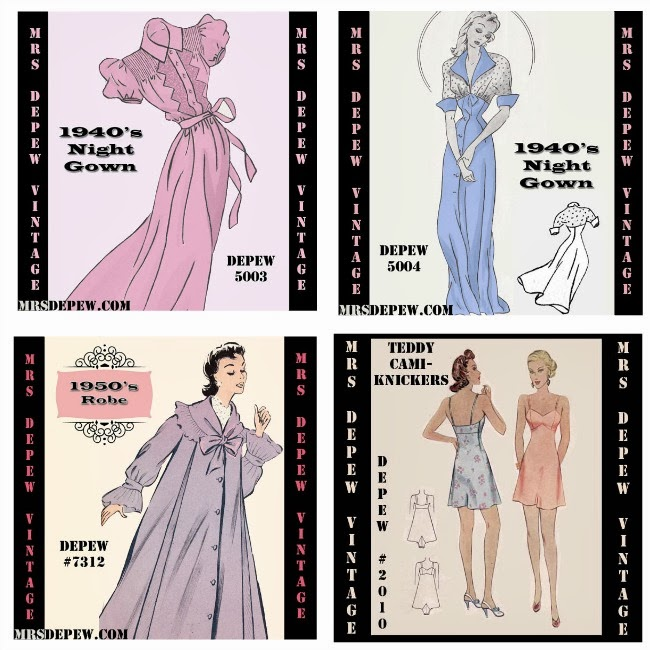 vintage 1940s nightgown, 1950s robe and 1930s all-in-one teddy step in lingerie sewing patterns