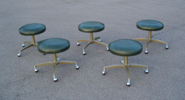 Mid Century Industrial Stools On Casters 100 Delivery Available