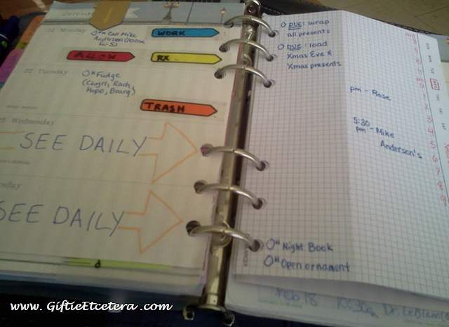 weekly spread; task list