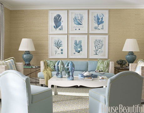 Muted Blues Against The Grass Cloth Wall Covering And Coral Art