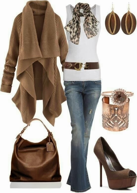Long stylish cardigan, white blouse, scarf, jeans, handbag and high heels for fall