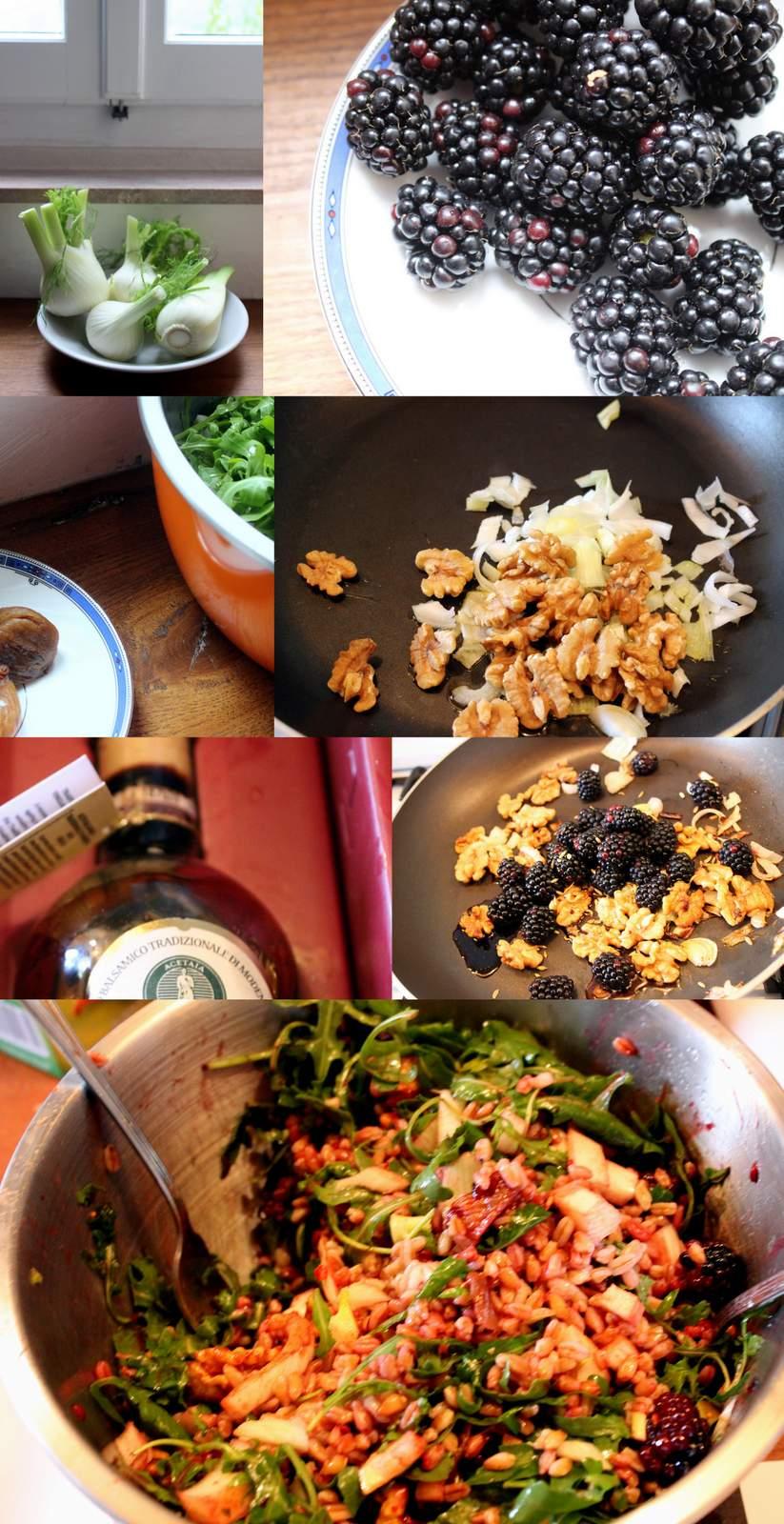 Vergan, veggie, gluten free salad Farro salad with blackberry, fig, fennel and balsamico
