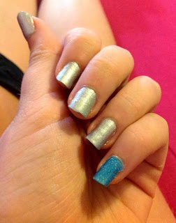 Blue pinky mean stinks nail polish 31 days of nail art challenge day 8 metallic nails