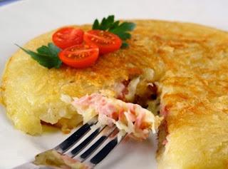 batata recheada com presunto e queijo