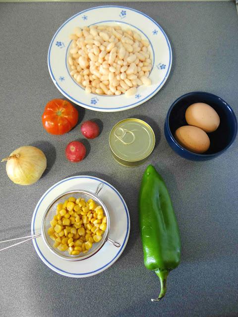 Ensalada de alubias con vinagreta de mostaza y estragón