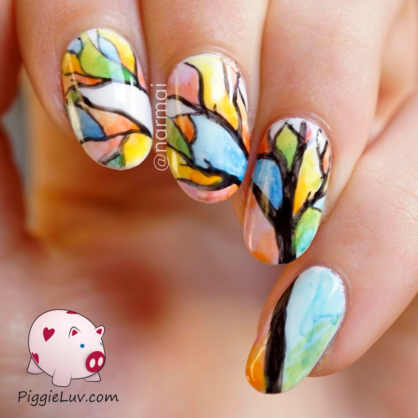 PiggieLuv: Aquarelle tree nail art