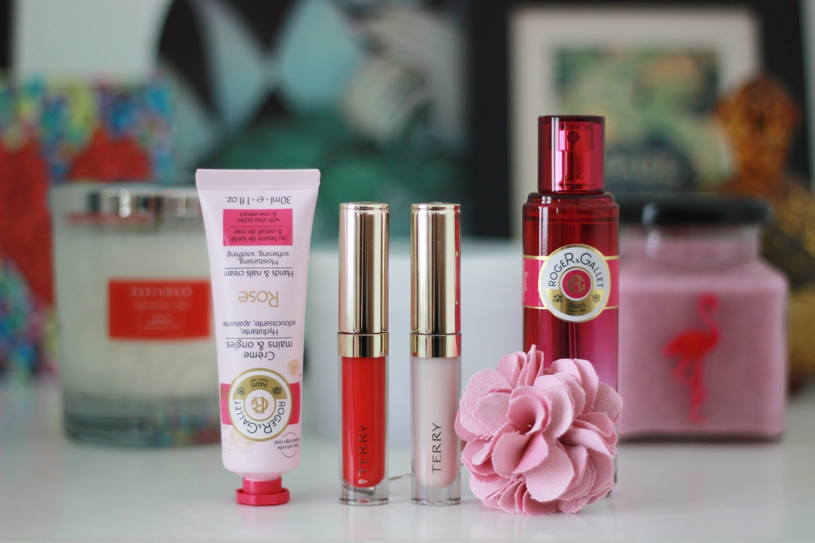 rose scented bath, body and makeup products