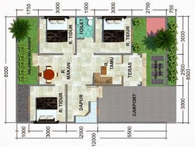 Desain rumh 3 kamar sederhana