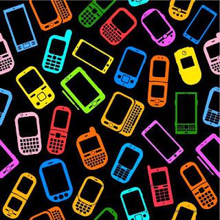 fondo con telefonos de colores