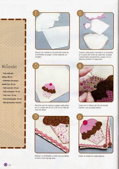 Cupcake em patchwork com moldes