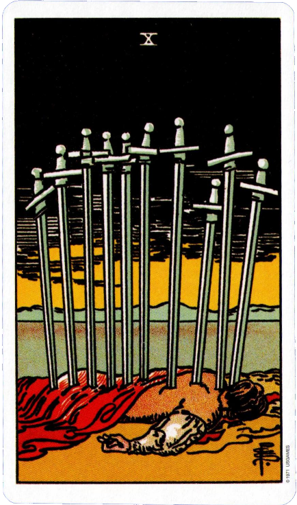Original Rider Waite Tarot, Ten of Swords,