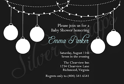 black and white paper lantern invitation