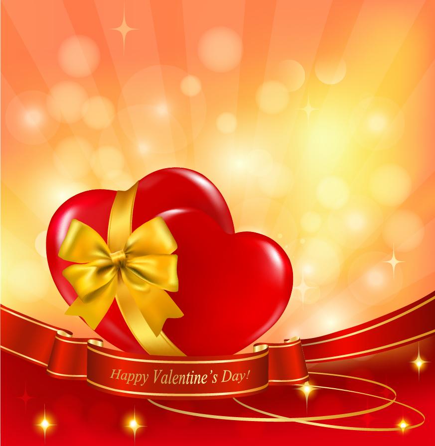 お洒落なリボン飾りのバレンタインデー背景 Heart elements of romantic valentine bow イラスト素材