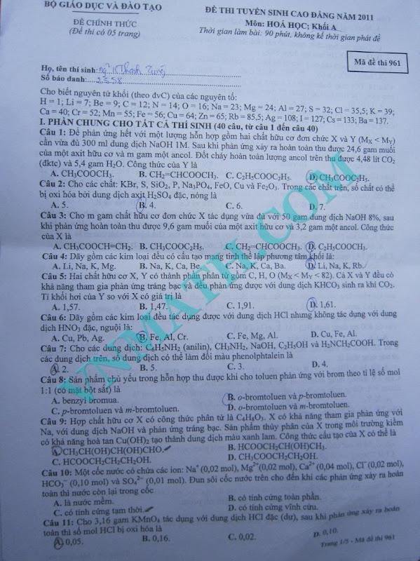 Đáp án đề thi cao đẳng môn Hóa khối A năm 2011 – Mã đề 961