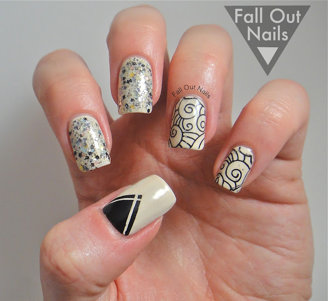 stamping striping glitter nail art 3