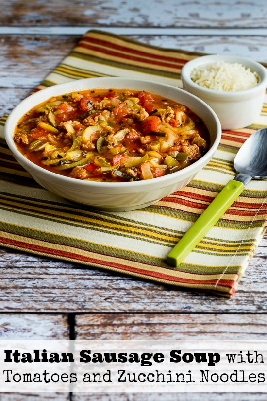 Italian Sausage Soup with Tomatoes and Zucchini Noodles (Low-Carb, Can Be Paleo)