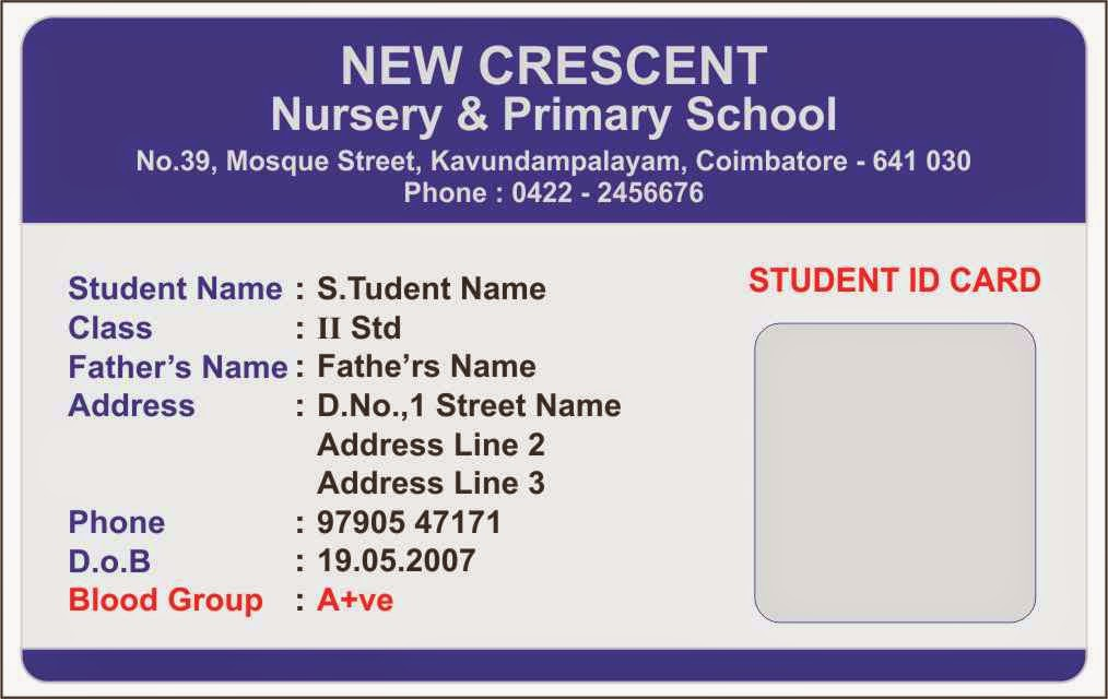 Template galleries nursery school id card templates for School id badge template