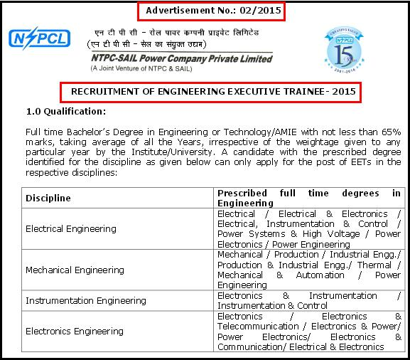 NSPCL 25 Engineering Executive Trainee-EET 2015 Recruitment Advertisement