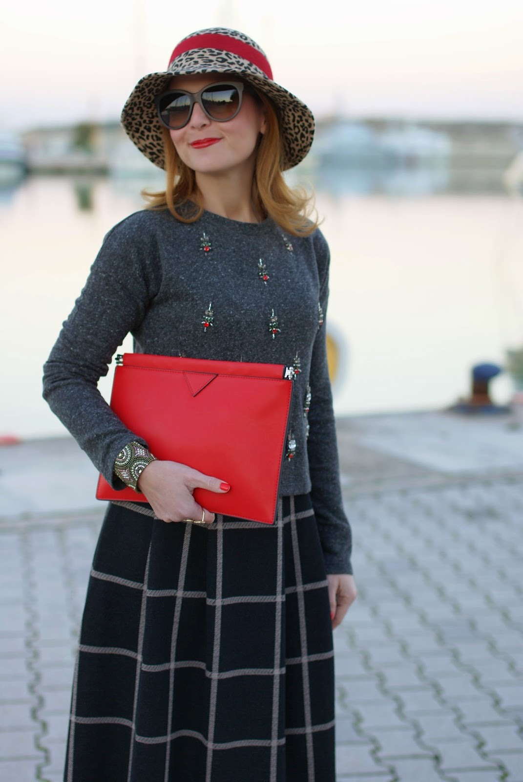 rhinestones sweatshirt, grey Icone ankle boots, check midi skirt, red clutch, Fashion and Cookies, fashion blogger