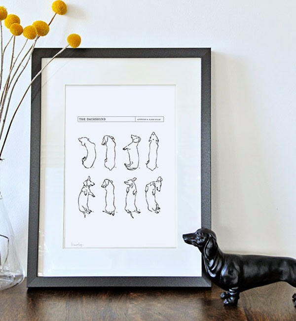 Dashound Art Print from White with Three Etsy Shop