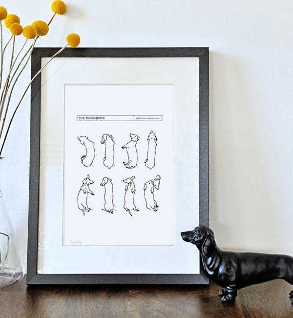 Dashound Art Print from White with Three Etsy Shop