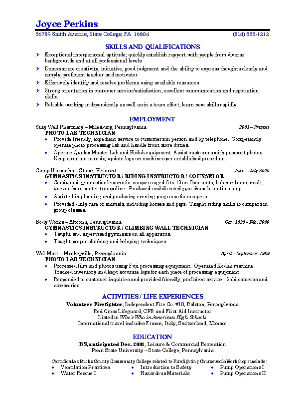 job resume format for college students | Template