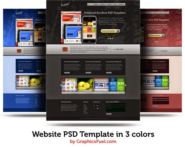 PSD Website Template In 3 Colors