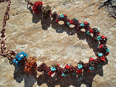 Desert Flower Beaded Copper Necklace