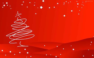 Fondo con un lindo arbol navideño y fondo negro con estrellas